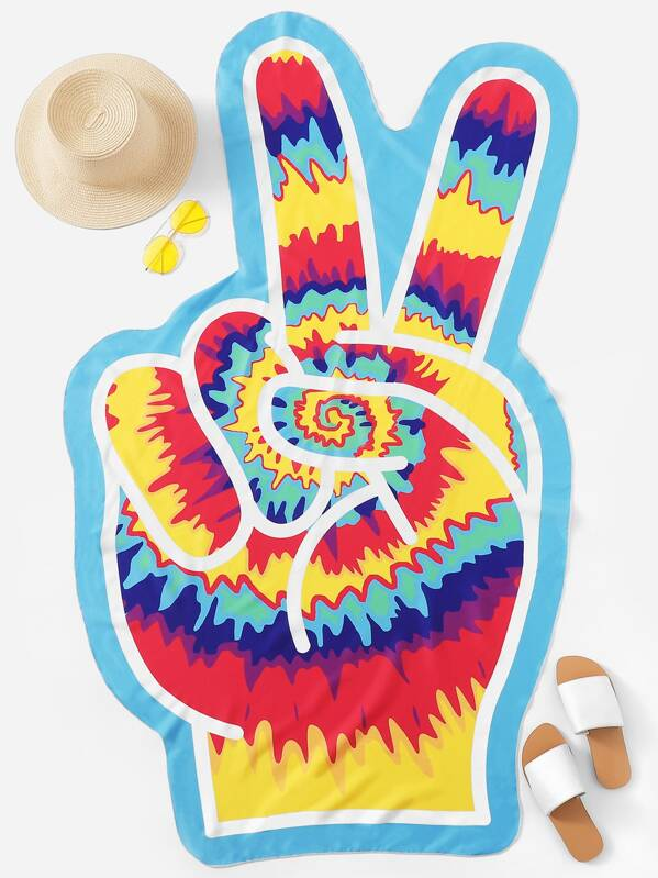 Tie Dye Hand Shaped Beach Blanket