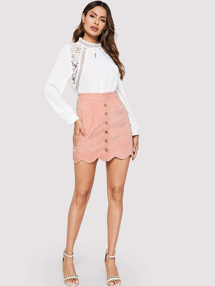 4a04da869e Scallop Hem Button Through Skirt | SHEIN
