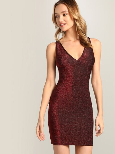 8190350327ab Criss Cross Open Back Glitter Bodycon Dress