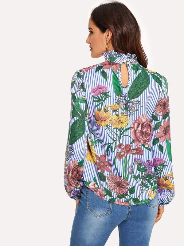 9662afe0a48a4 Frilled Neck Floral   Stripe Print Blouse -SHEIN(SHEINSIDE)