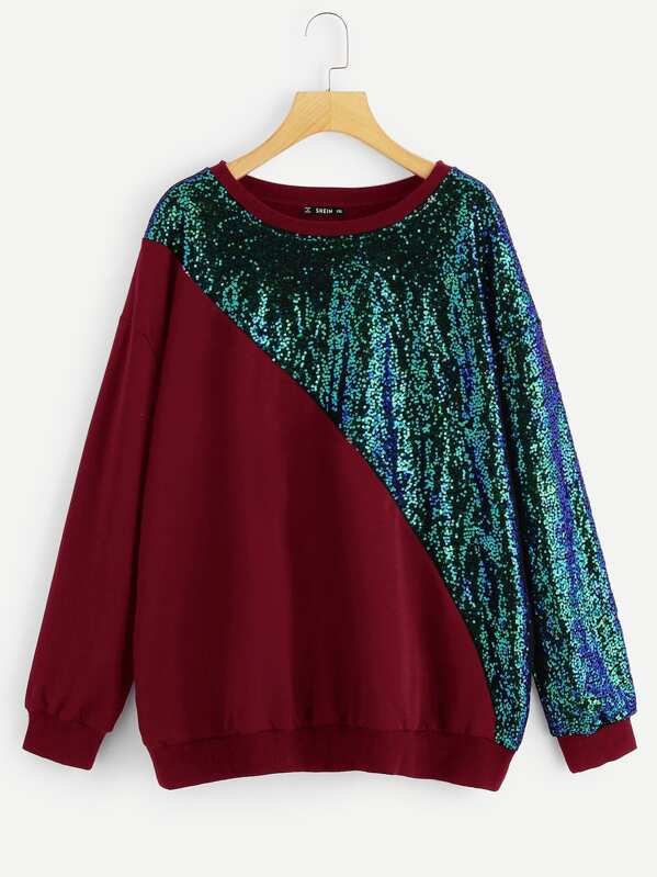 Plus Sequin Panel Colorblock Pullover