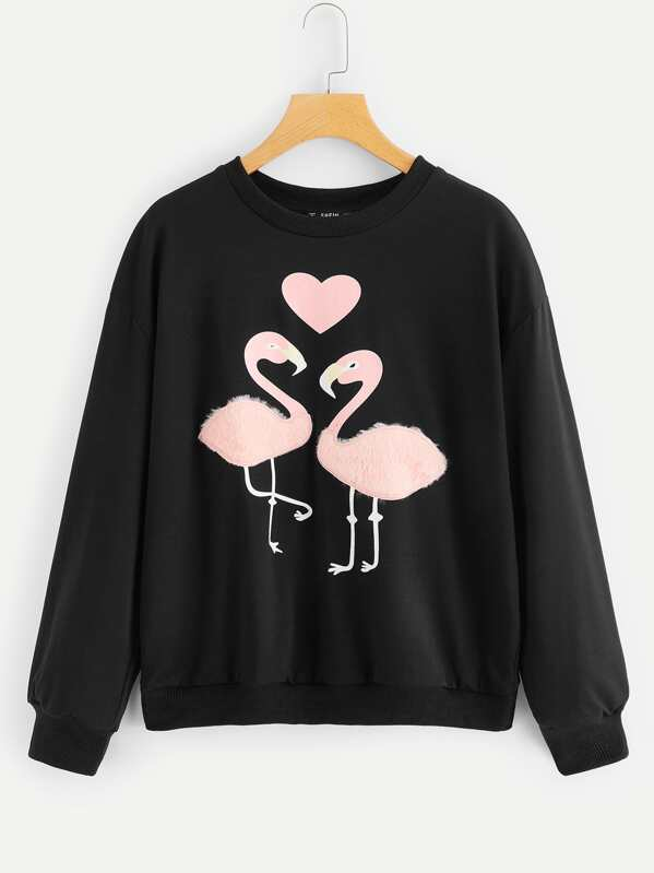 Faux Fur Detail Flamingo Print Pullover