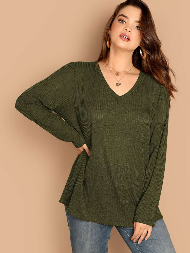 7907deb426 Plus Ribbed Knit V-neck Top | SHEIN