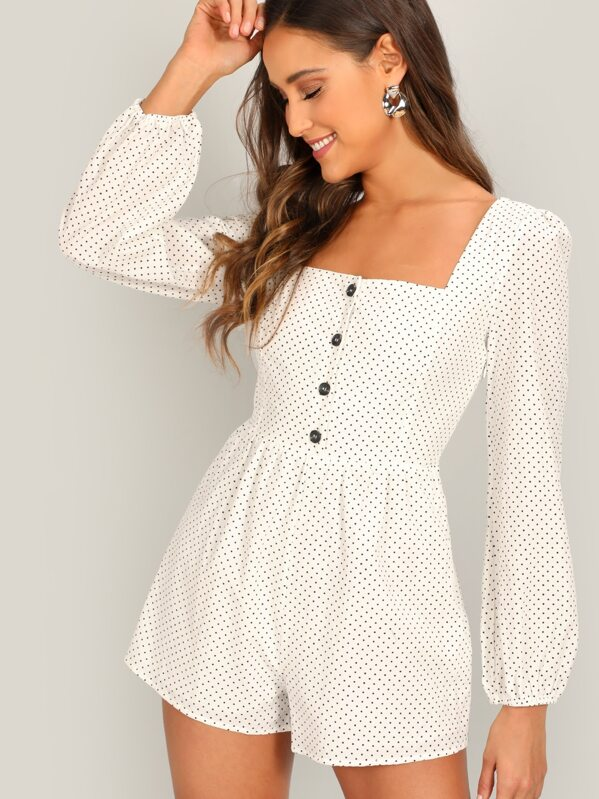 Button Front Polka Dot Puff Sleeve Romper by Sheinside