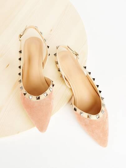 Zapatillas de ante de talón abierto con diseño de tachuela 28d218a16bf0b