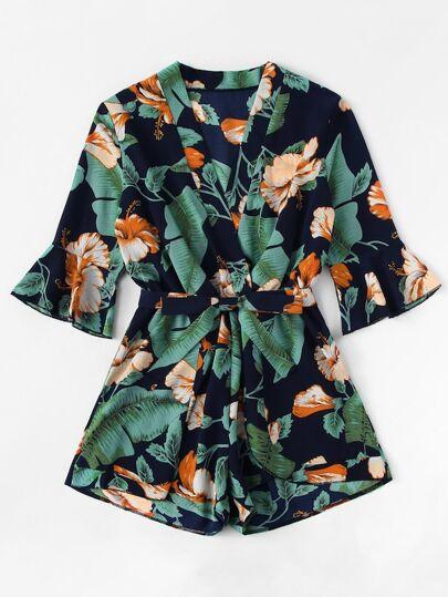 6ceb15ad996f6 Plus Floral Print Surplice Front Jumpsuit