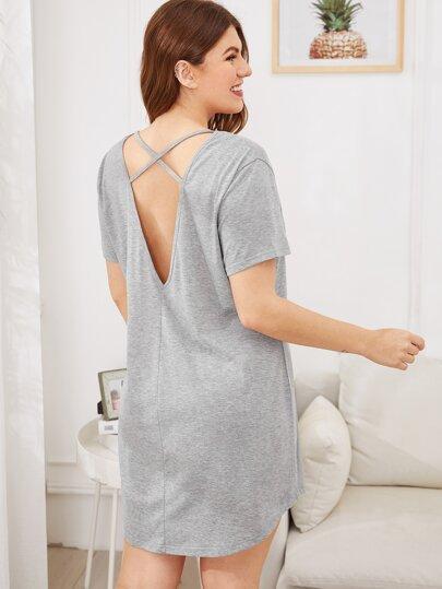 f22673a204 Plus V-cut Back Curved Hem Night Dress