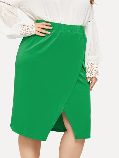 121eba43d25 Plus Elastic Waist Tulip Hem Skirt