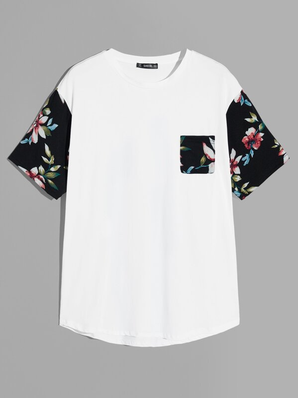 Men Drop Shoulder Floral Sleeve Pocket Tee by Shein