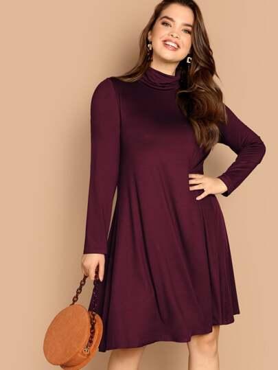 ed422d99870 Plus High Neck Solid Swing Dress