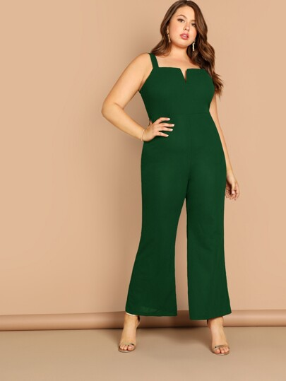 68ac15274e0 Plus V-cut Front Wide Leg Jumpsuit
