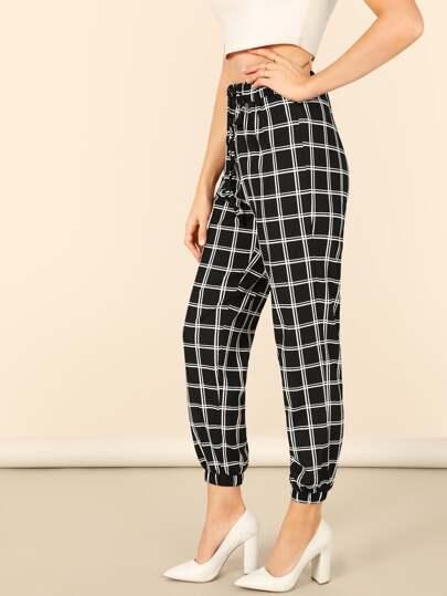 Pantalones cónicos de cuadros de cintura con cordón f526ac53610