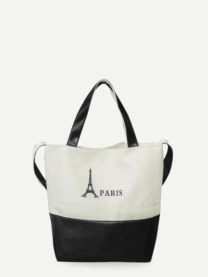 Two Tone Canvas Panel Shoulder Bag