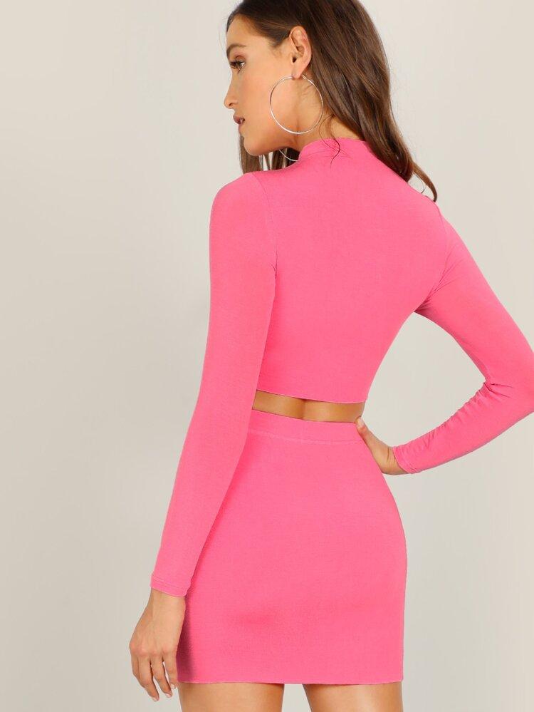 8d384c267b53 Neon Pink Mock-neck Crop Tee and Bodycon Skirt Set   SHEIN