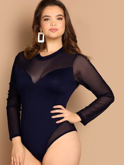 Plus Mock-neck Mesh Overlay Fitted Bodysuit 7c11adf1c