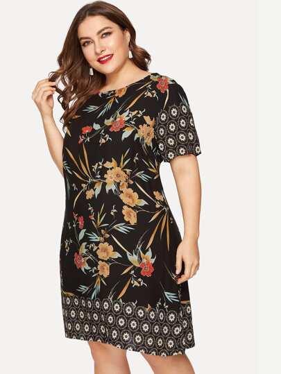 d63970a736 Plus Floral Print Tunic Dress