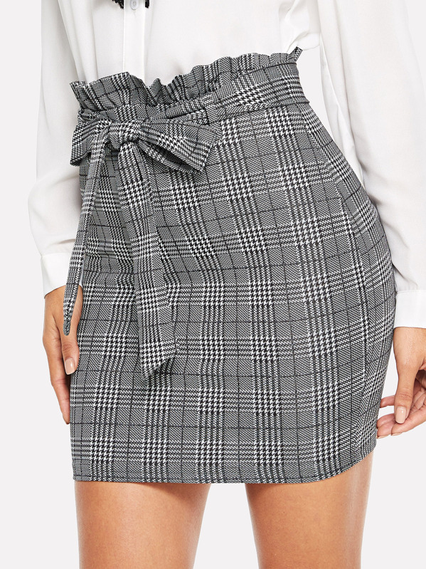 Paperbag Waist Houndstooth Fitted Skirt