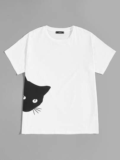 Camiseta pullover de hombres con estampado de gato ebf0ff136f289