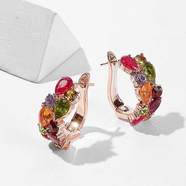 Color-block Rhinestone Decor Hoop Earrings 1pair, Multicolor