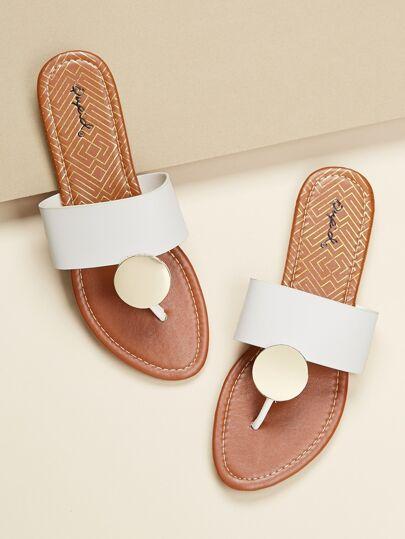 f6143c73c9bf Disc Charm Wide Band Slide On Flat Sandals