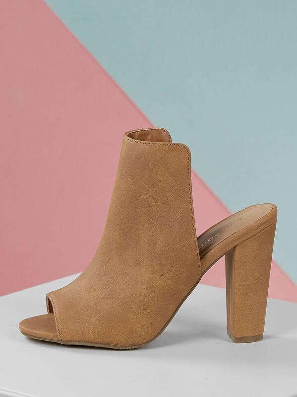 High Shaft Chunky Heel Open Toe Mules by Sheinside