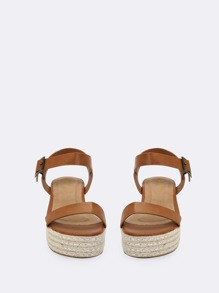 b6c00098dcd One Band Jute Trimmed Buckle Flatform Sandals