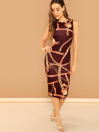 5849d182d05 Chain Print Sleeveless Pencil Dress