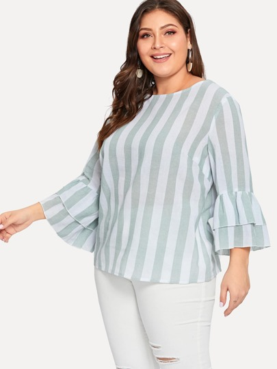 d79b4526532 Plus Flounce Sleeve Striped Two-tone Blouse
