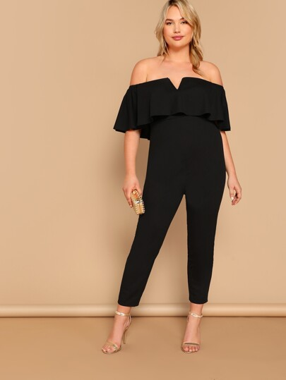 9739b7ccba65 Plus Notched Flounce Off Shoulder Ruffle Jumpsuit