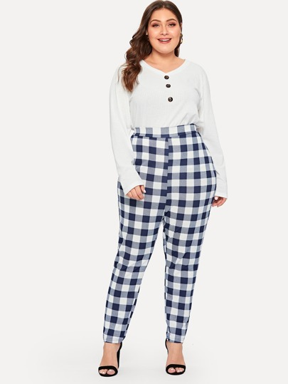 f146ef4bd24 Plus Gingham Cigarette Pants