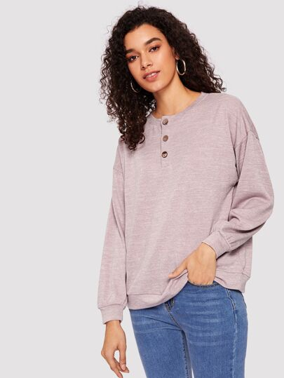 7b0fd7b928dfa Button Front Heather Knit Pullover