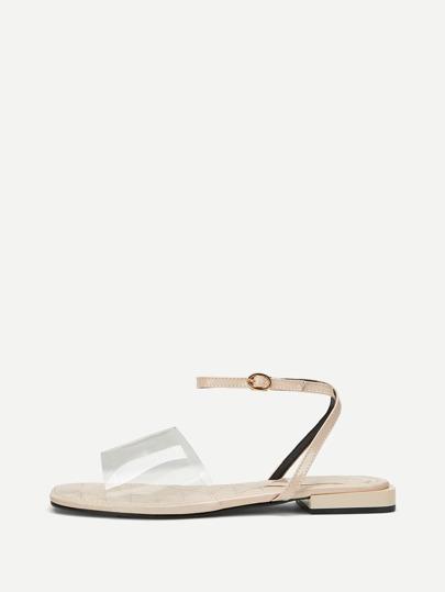 6698616b43cd Transparent Flat Sandals