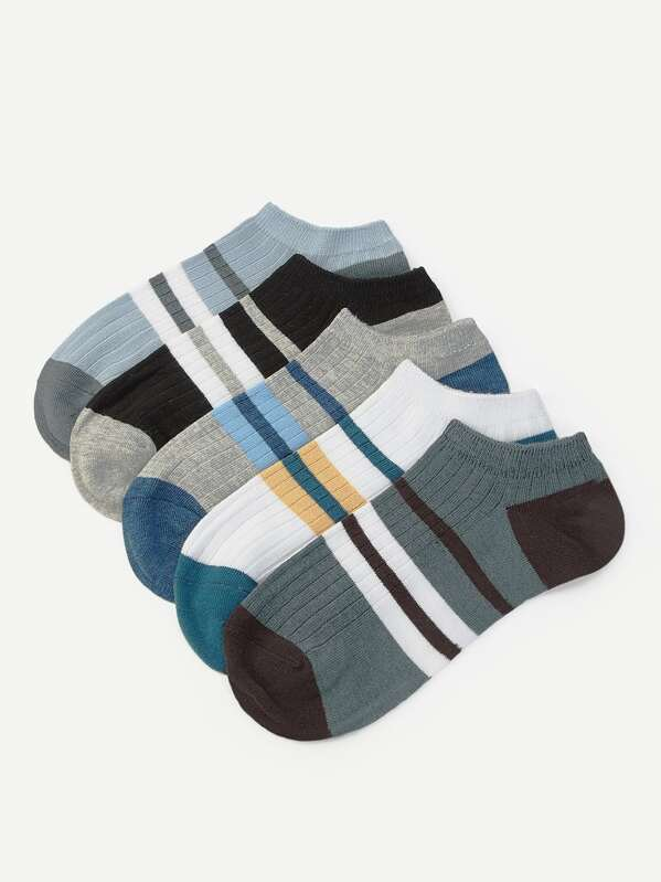 Men Striped Ankle Socks 5pairs