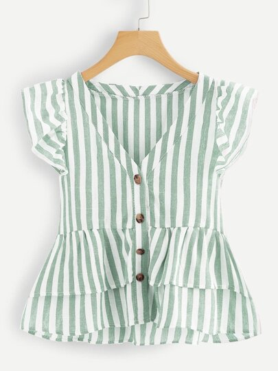 Plus Striped Ruffle Hem Blouse 7489e3979