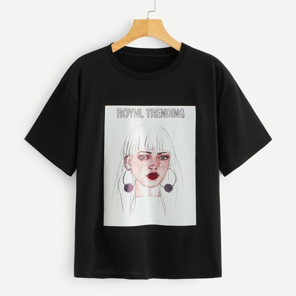 Letter And Figure Print Tee