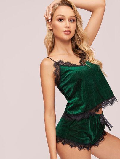 ed812f984a Contrast Lace Velvet Cami Pajama Set