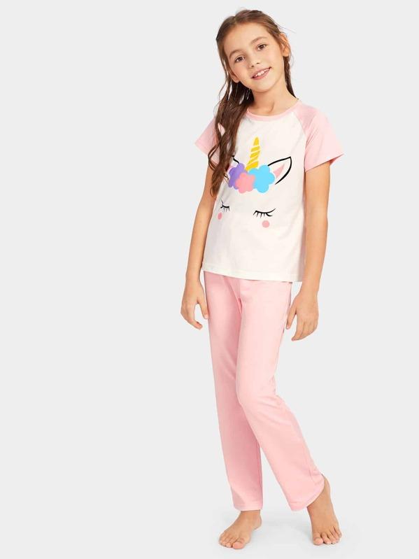 Girls Cat Print Pajama Set - shein.com - imall.com a64adced2
