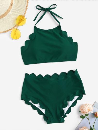 b5fd6614f9bf4 Scalloped Trim Halter Top With High Waist Bikini
