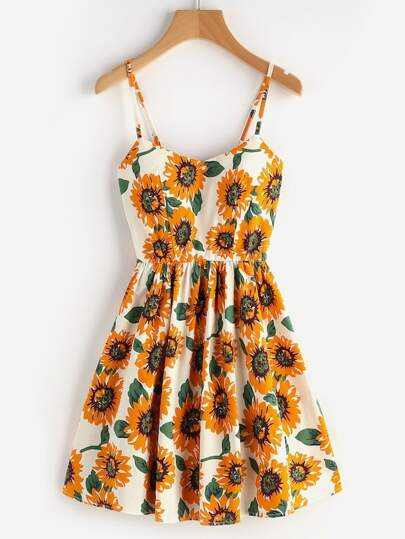 830af7b960556 Plus Floral Print Cami Dress