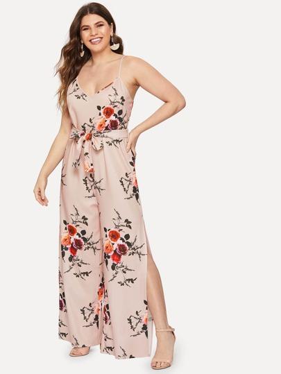 01f4dfd486d0 Plus Self Tie Floral Print Cami Jumpsuit