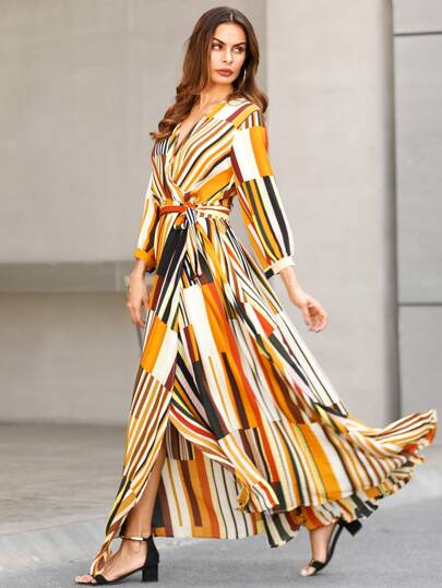 Mixed Striped Belted Wrap Split Dress 7e6d50ca8
