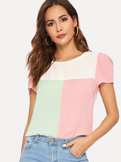 Color Block Puff Sleeve Blouse
