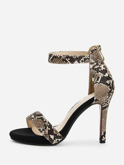 5da78fbf296 Snakeskin Pattern Ankle Strap Heels