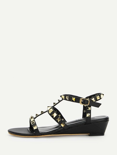 7d80a661404b Studded Detail Gladiator Wedges