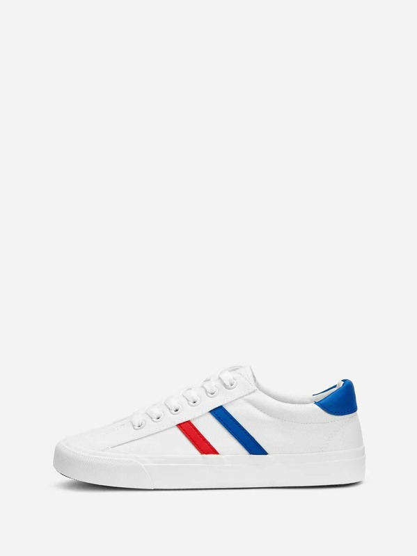 Striped Detail Low Top Canvas Sneakers