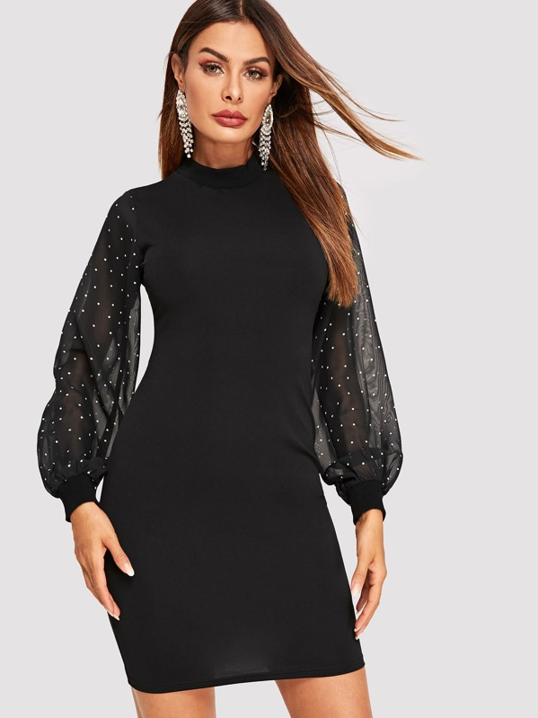 Mock-neck Dot Sheer Lantern Sleeve Bodycon Dress