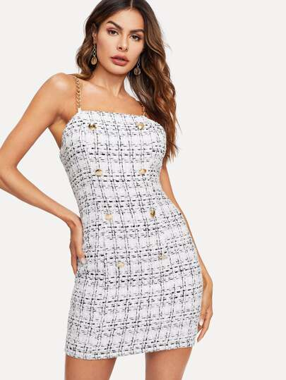 7d3d256fab Double Breasted Chain Strap Tweed Cami Dress