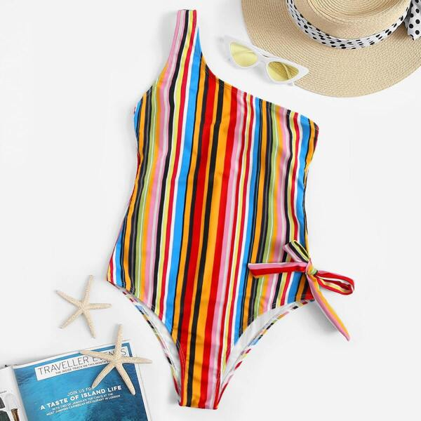 One Shoulder Bow Detail Striped One Piece Swimsuit