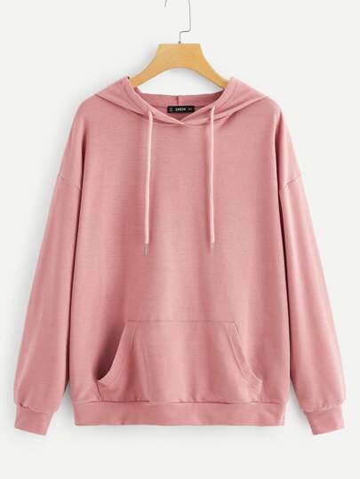 Kangaroo Pocket Patched Drawstring Hoodie 7a5fb04c0