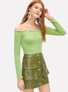 76585409b000a Lettuce Trim Button Front Ribbed Bardot Top